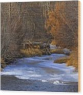 Winter Gold On The Yakima River Wood Print