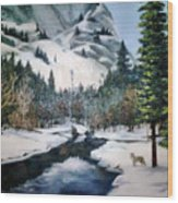Winter Half Dome Wood Print