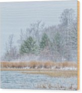 Winter Hoarfrost On The River Wood Print