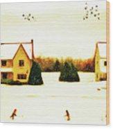 Winter Hockey Wood Print