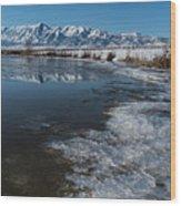 Winter Ice Flows Wood Print