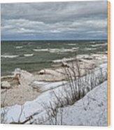 Winter Ice On Lake Michigan Ll Wood Print