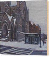 Winter In Boston Wood Print