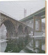 Winter In East Falls Along The Schuylkill River Wood Print