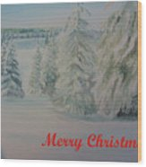 Winter In Gyllbergen Merry Christmas Red Text Wood Print