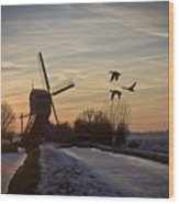 Winter In Holland-1 Wood Print