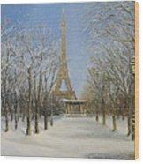 Winter In Paris Wood Print by Kiril Stanchev