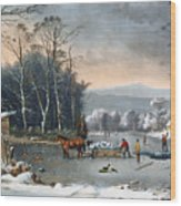Winter In The Country Wood Print by Currier and Ives