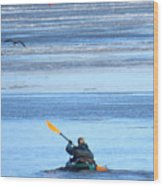Winter Kayak Wood Print