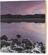 Winter Lake Frost Wood Print