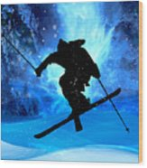 Winter Landscape And Freestyle Skier Wood Print