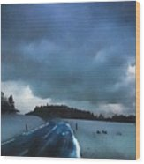 winter landscape at Dusk Wood Print