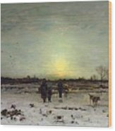 Winter Landscape At Sunset Wood Print by Ludwig Munthe