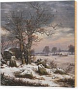 Winter Landscape. Near Vordingborg Wood Print