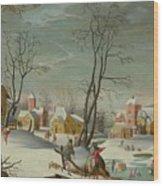 Winter Landscape Of A Village Wood Print