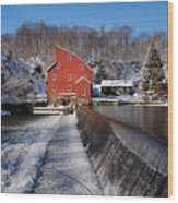Winter Landscape With A Red Mill Clinton New Jersey Wood Print by George Oze
