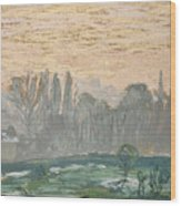 Winter Landscape With Evening Sky Wood Print