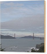 Winter Landscape With Golden Gate Bridge Wood Print