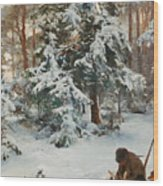 Winter Landscape With Hunters And Dogs Wood Print