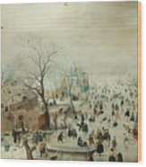 Winter Landscape With Ice Skaters1608 Wood Print