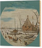 Winter Landscape With Skaters And A Farm House Wood Print