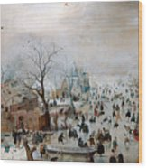 Winter Landscape With Skaters Wood Print