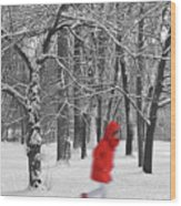 Winter Landscape With Walking Gir In Red. Blac White Concept Gra Wood Print