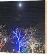Winter Lights Full Moon Wood Print