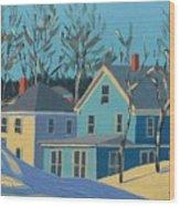 Winter Linden Street Wood Print by Laurie Breton