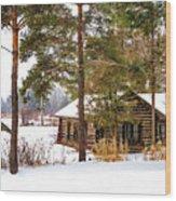 Winter Log Cabin 3 - Paint Wood Print
