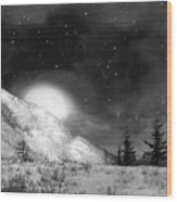 Winter Magic In Black And White Wood Print
