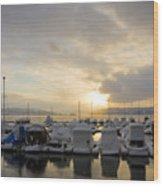 Winter Marina Wood Print