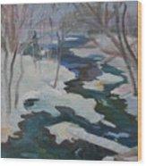 Winter Mill Stream  Wood Print