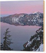 Winter Mirror At Crater Lake Wood Print