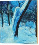 Winter Moonlight And Snow Wood Print