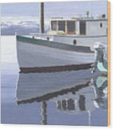 Winter Moorage Wood Print