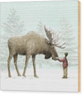 Winter Moose Wood Print