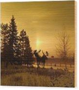 Winter Moose Statue Wood Print