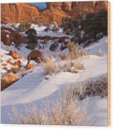 Winter Morning At Arches National Park Wood Print
