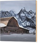 Winter Morning At John Moulton Barn Wood Print