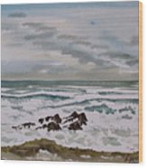 Winter Morning Seascape Wood Print