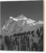Winter Mountain Monochrome Wood Print