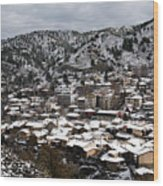 Winter Mountain Village Landscape With Snow Wood Print