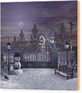 Winter Night Scene Wood Print