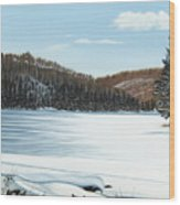 Winter On An Ontario Lake  Wood Print