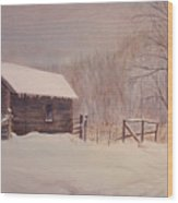 Winter On The Farm  Wood Print