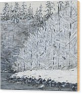 Winter On The River Wood Print