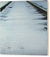 Winter Railroad Tracks Wood Print