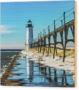 Winter Reflection At Manistee Light Wood Print