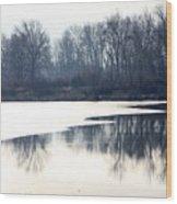 Winter Reflection On The Yakima River Wood Print
